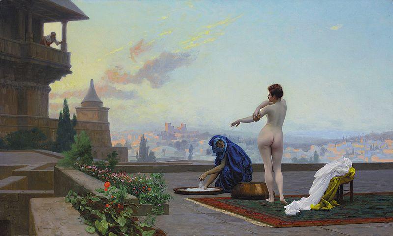 nahá žena na streche